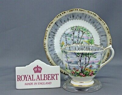 Royal Albert England Bone China SILVER BIRCH Pattern Tea Cup & Saucer Duo set