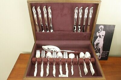 SILVER WIND Hope Chest silverplate MCM 56pc COMPLETE SET for 8 in original chest
