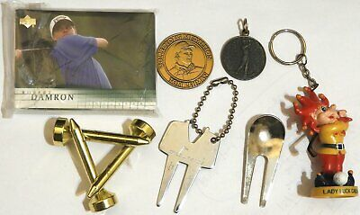 GOLF Junk Drawer Lot Sports cards paperweight coin medallion keychain divot tool