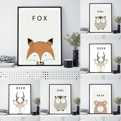 Modern Style Cartoon Animal Canvas Painting Art Poster Wall Picture Home Decor