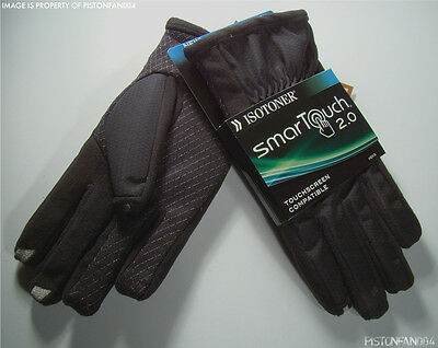 Isotoner Mens Smartouch Touchscreen Texting Matrix Gloves Black LARGE NWT