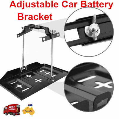 Car Battery Tray + Adjustable Hold Down Clamp Cycle Universal Metal Bracket Kit