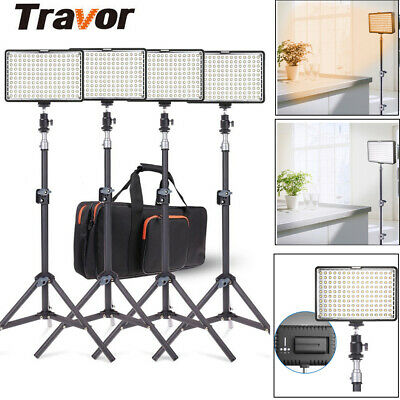 Travor 4 Kits Dimmable 160pcs LED Video Panel Light + Stand Lighting + Batteries