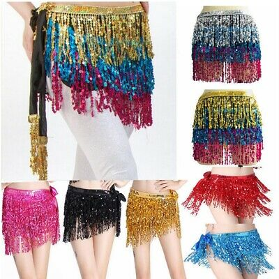 Women's Belly Dance Hip Scarf Performance Outfits Skirt Festival Sequin Clothing