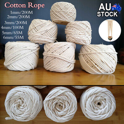 1/2/3/4/5/6mm  Natural Cotton Rope Cord String DIY Hand Crafts Twine Decor 200m