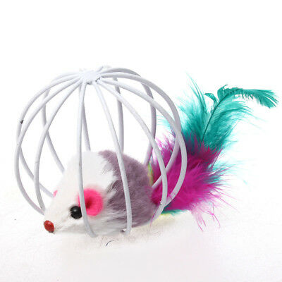 Fun Gift Playing Toy False Mouse in Rat Cage Ball For Pet Cat Kitten IA8