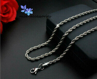 16-30'' 316L Stainless Steel Silver Twist Chain Necklace For Men/Women Gift