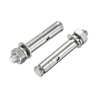 M8x60mm 304 Stainless Steel External Hex Expansion Bolt Sleeve Anchor 2Pcs