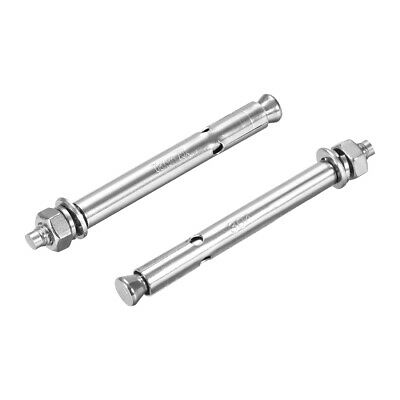 M6x80mm 304 Stainless Steel External Hex Expansion Bolt Sleeve Anchor 2Pcs