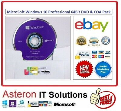Genuine Microsoft Windows 10 Pro Professional 64Bit OEM Pack (DVD & COA) Sealed