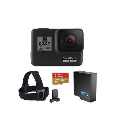 GoPro HERO7 Black - Bundle with Head Strap + QuickClip, Extra Battery  32GB