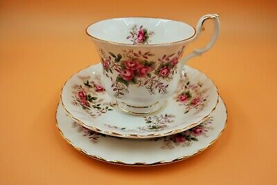 Vintage Royal Albert China Lavender Rose. Tea cup, saucer & side plate trio.