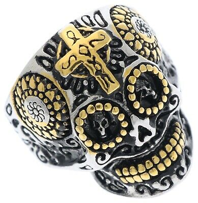 Day Of The Dead Skull Gold Overlay stainless steel men's ring size 9 HM6679