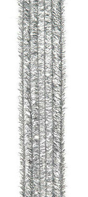 """Pack of 24 12"""" Pipe Cleaners / Tinsel Stems - Silver"""