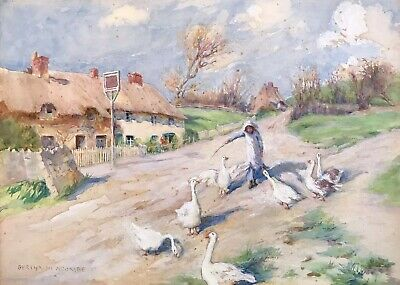 Bertha Newcombe (1857-1947) Fine Signed Painting - The Goose Girl Village Lane