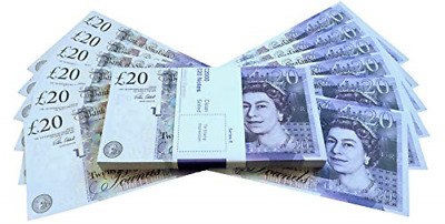 Prop Money UK Pounds GBP Bank 100 20 Notes Perfect For Movies Films Advertising