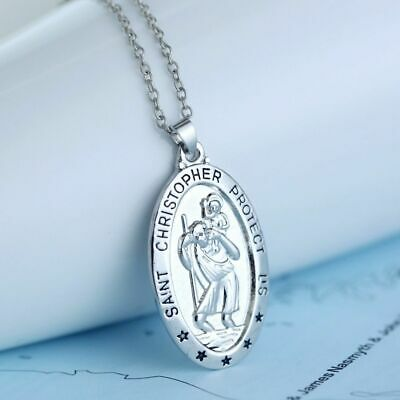 Saint St Christopher Medal Protect Us Oval Silver Plated Pendant Necklace Gift