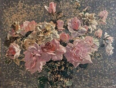 Fine Antique French Impressionist Signed Oil - Pink Roses In Vase - Beautiful