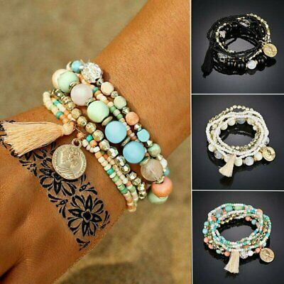 Hot Multi-layer Bohemia Crystal Tassel Rope Boho Chain Cuff Bracelets Set Bangle