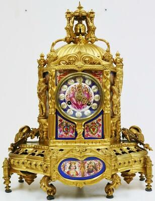 Rare Antique French 8Day Gothic Bronze & Sevres Porcelain Automaton Mantel Clock