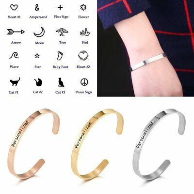 Stainless Steel DIY Personalized Custom Letter Symbol Cuff Bangle Bracelet NEW
