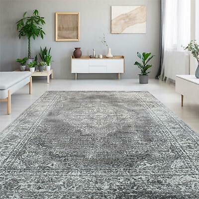 Two Tone Abstract Stain Resistant Easy Clean Bedroom Area Carpet Runner Rugs Mat