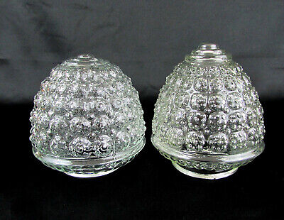Vintage Clear Pressed Glass Bubble Acorn Light Covers Shades - 3.25 fitter