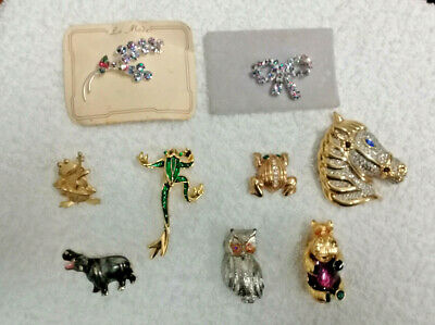 Lot of 9 Vintage Costume Jewelry Brooches/Pins