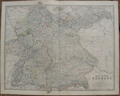 1861 Large Antique A.K.Johnston Map- SOUTH-WESTERN GERMANY - Konstanz to Leipzig