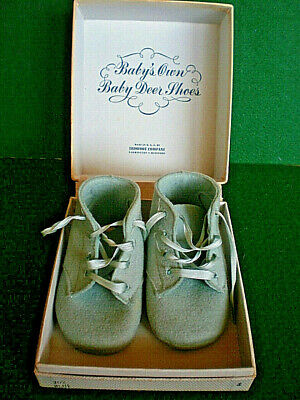 Vintage Original Wool Baby Shoes White With Embroidery Baby Deer Trimfoot Co Md Other Baby Keepsakes