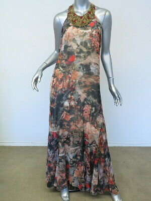 aa208a4c0d6 Alice + Olivia Dress Shona Beaded Neck Printed Chiffon Maxi Multi Size Small
