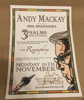 Andy Mackay  -   3 Psalms   -  Signed  Gig Poster   -  Roxy Music  -    Uacc