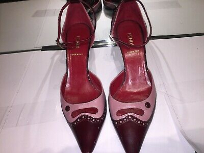 93a080a149 FENDI RED LEATHER Pointed Toe Pumps Shoes Heels size eu 37 - $20.00 ...