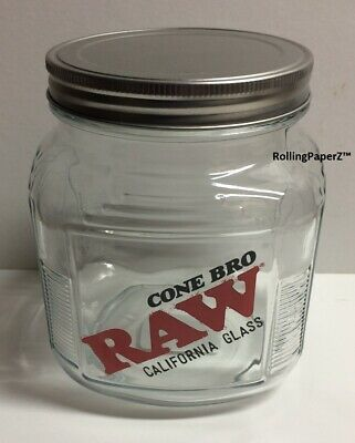 """Empty RAW rolling papers CONE BRO Glass Jar with Screw on Metal Lid 5.5"""" X 4.5"""""""