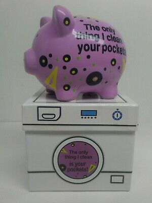 """MWW Market Ceramic Piggy Bank Pig """"Hungry for Your Pocket Change"""" 3.5""""H x 5.5""""W"""