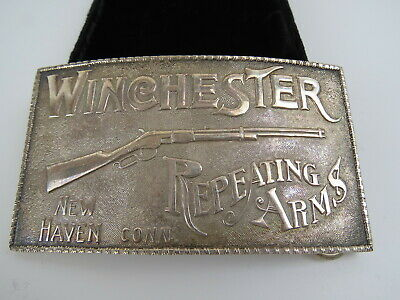 Adina Silversmiths Sterling Silver Winchester Repeating Arms Belt Buckle in Box