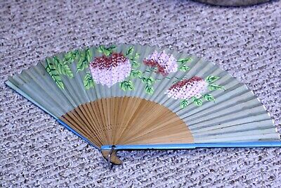 """Vtg silk bamboo floral PAINTED HAND FAN OCCUPIED JAPAN 9 3/4"""" x 17"""" TLC needed"""