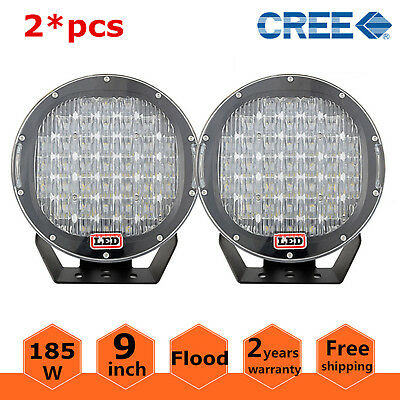 2X 9'' Inch 185W Round LED Driving Flood Light DRL ARB Replace Offroad 4WD Black