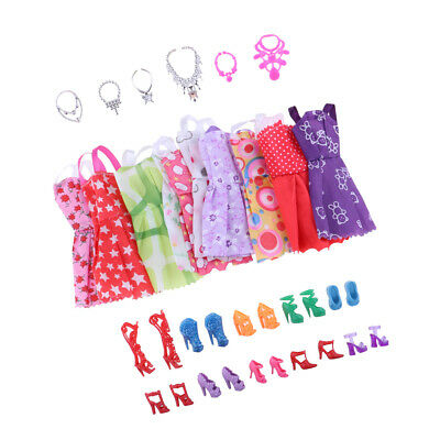 Fashion Dolls Dresses Shoes Necklaces Clothes Set 26 Items for Doll
