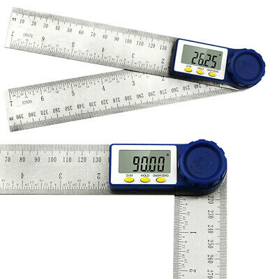 2 In1 Stainless Steel Digital Angle Protractor Goniometer 200mm 8'' Finder Ruler