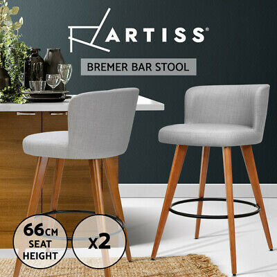 Artiss 2x Wooden Bar Stools Modern Bar Stool Kitchen Dining Chairs Cafe Grey