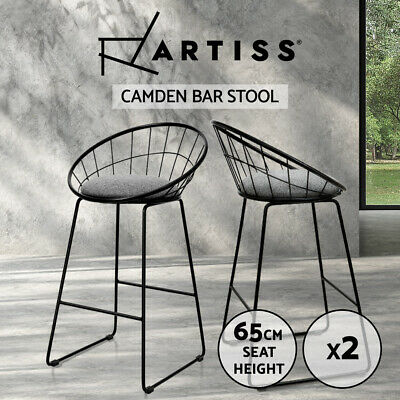 Artiss 2x Nordic Bar Stools Metallic Bar Stool Kitchen Chairs Fabric Grey Black