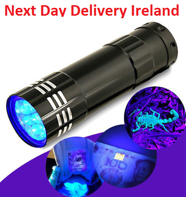 Mini Aluminum UV Ultra Violet 9 LED Flashlight Blacklight Torch Light Lamp Money