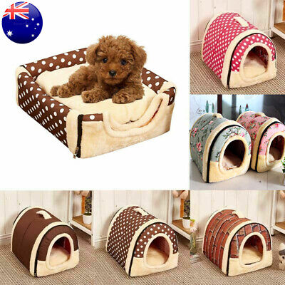 Pet Dog House Kennel Soft Igloo Beds Cave Cat Puppy Bed Warm Doggy Cushion Fold