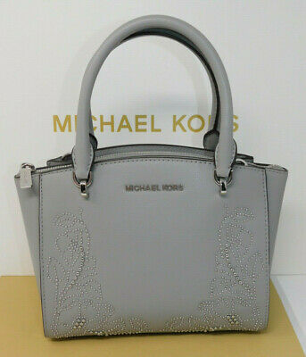 f64506c439fb Michael Kors Ellis Ash Grey Gray Silver Bead Floral Small Satchel Leather  Purse