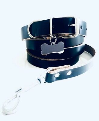 Strong Real Leather Black Small Adjustable Dog collar and lead set