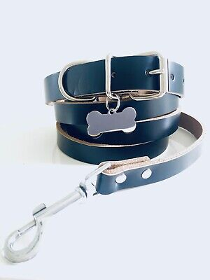 Strong Real Leather Adjustable Black Large Dog collar and lead set