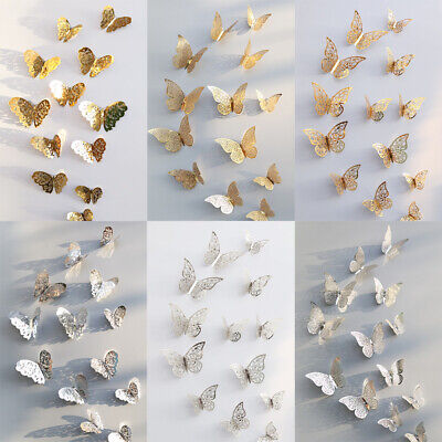 12 Pcs 3D Hollow Wall Stickers Butterfly Fridge Home Offices Decoration Stickers