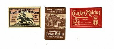 3 Old German c early 1900s matchbox labels depicting Cracker Matches etc.