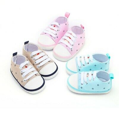 Newborn Kids Baby Girls Boys Crown Printed Solid Soft Sole Casual Cotton Shoes